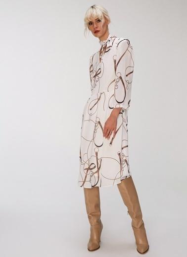 People By Fabrika Desenli Yakası Bağlama Detaylı Elbise Ekru